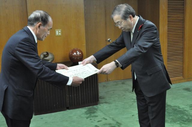 北海道への見舞金贈呈に対し知事感謝状を受理
